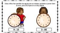 Estos niños han perdido las agujas de sus relojes; ayúdales a poner bien la hora, para ello fíjate en el reloj digital.
