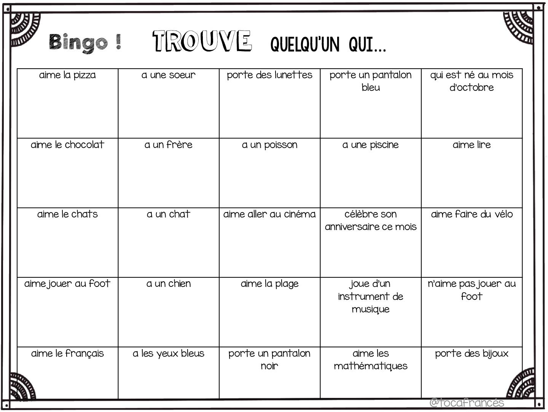 Bingo nos conocemos primer día de clase francés y castellano ...