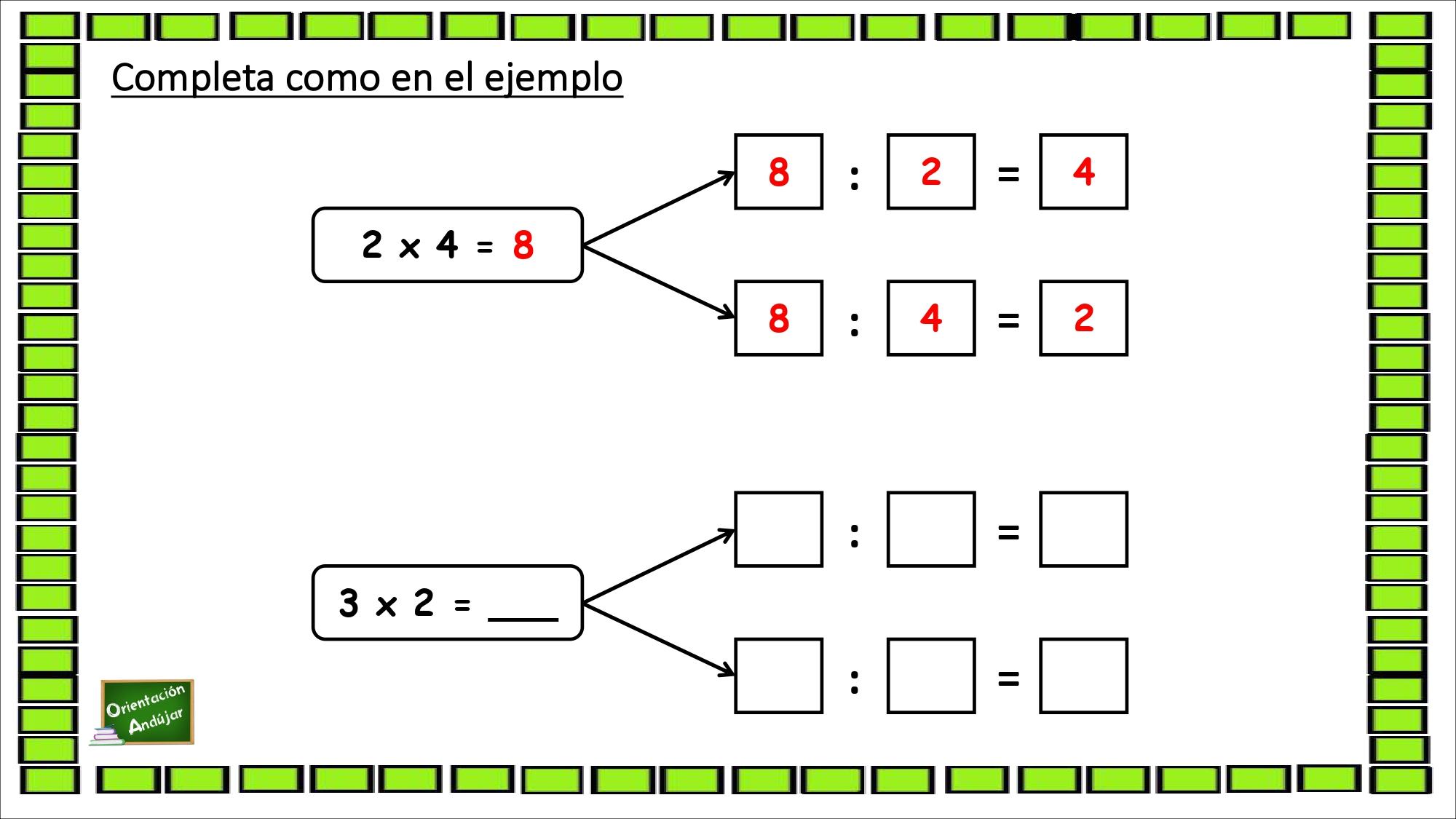 Fichas Matemáticas Relación Entre La Multiplicación Y La División Orientacion Andujar
