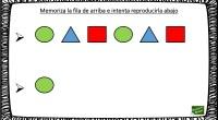 Completa actividad para trabajar atención y memoria que consiste en memorizar una serie de figuras geométricas con sus colores e intentar reproducirla.