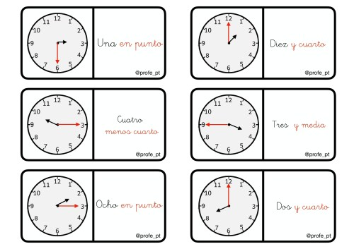 Dominó Para Trabajar Las Horas Cas Ingles Orientacion Andujar