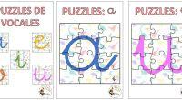 Hoy quiero compartir estos puzzles de las vocales. Es otra forma de hacer que los más pequeños adquieran las grafías y su reconocimiento.