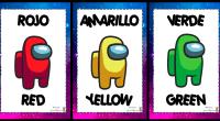 Bonitos carteles para decorar el aula y aprender los colores en inglés y castellano con los simpáticos personajes del famoso videojuego Among Us.