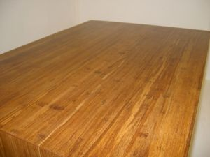 Strand Woven Bamboo coffee table top - the final finish coat applied