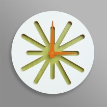 White splat on green bamboo clock