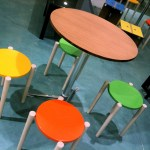 Bamboo table - fun colours for a restaurant