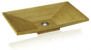 Rectangular bathroom bamboo sink