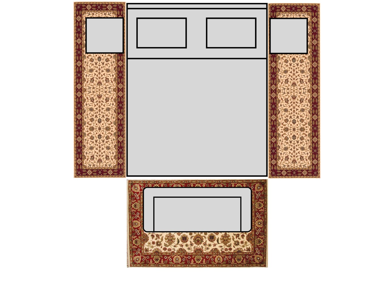 Bedroom King Size Bed With 8 Runners Amp 4x6 Rug