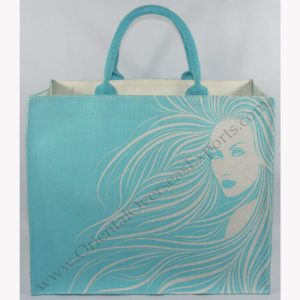 Elegant Looking Printed Jute Cotton (Juco) bag with cotton handles.