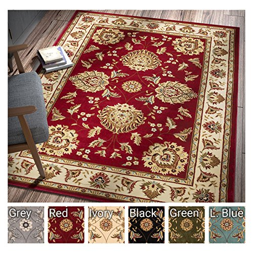 Sultan Sarouk Red Oriental Area Rug Persian Floral Formal Traditional 7 X 9 Easy Clean Stain Fade Resistant Shed Free Modern Classic Contemporary