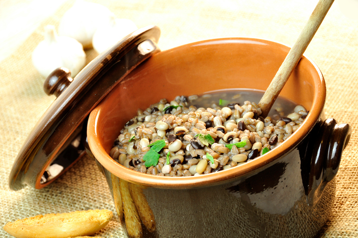 rustic soup of beans and barley
