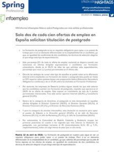 VIII Informe Infoempleo Adecco sobre Postgrados con mas salidas profesionales