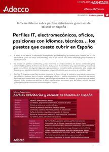 Informe sobre perfiles deficitarios y escasez de talento en España Adecco 2018