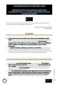 Sostenibilidad en España 2018 comparación entre los informes
