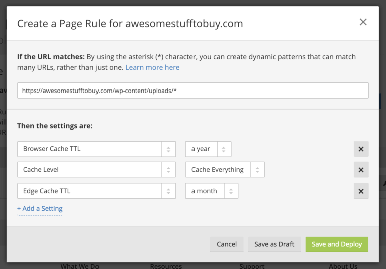 Cloudflare rule to cache all images for free