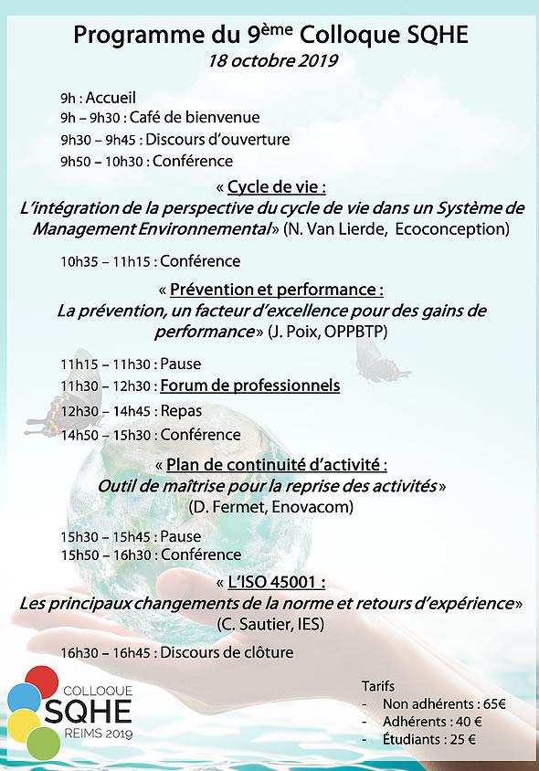 programme colloque métiers QSE