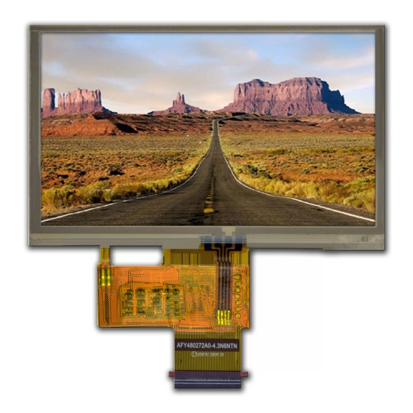 """4.3"""" TFT, 480x272, 250 Nits with Resistive Touch Panel"""