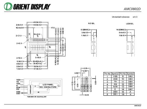 AMC0802DR-B-Y6WRN (8x2 Character LCD Module)