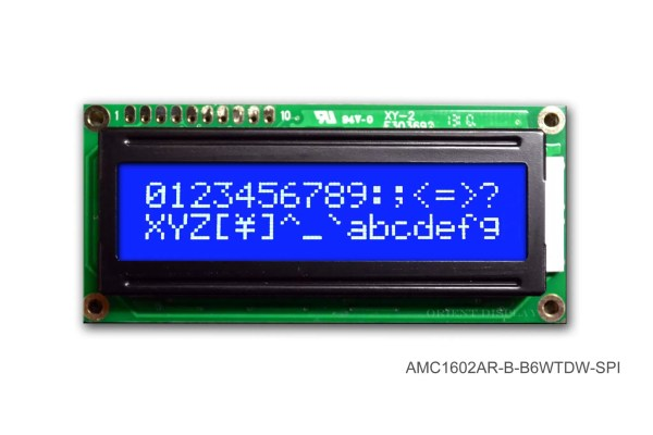 AMC1602AR-B-B6WTDW-SPI (16x2 Character LCD Module - SPI Interface)
