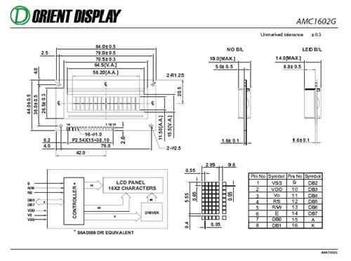 AMC1602GR-B-B6WTDW (16x2 Character LCD Module)