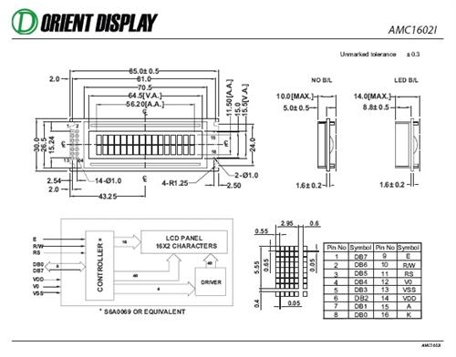 AMC1602IR-B-Y6WFDY (16x2 Character LCD Module)