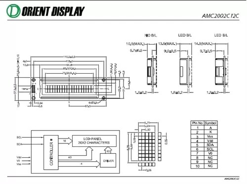 AMC2002CR-B-Y6WFDY-I2C (20x2 Character LCD Module - I2C Interface)