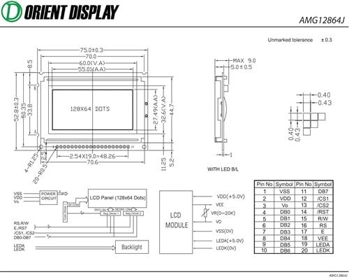 """AMG12864JR-B-Y6WFDY-NV (2.4"""" 128x64 Graphic LCD Module)"""