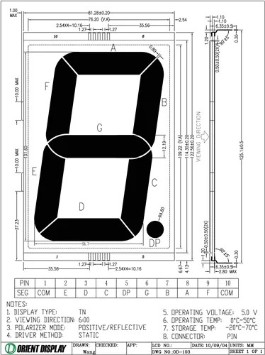 OD-103R (1 Digit LCD Glass Panel)
