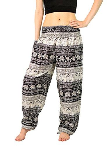 Orient Trail Unisex Elephant Tribal Design Harem Pants for Men & Women Waists 22″-38″