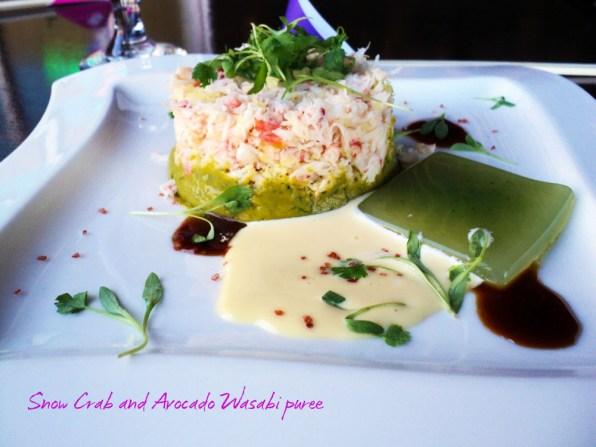 Snow Crab and Avocado Wasabi puree