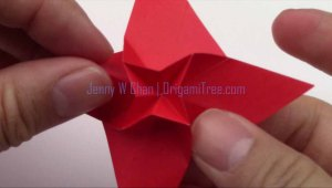 origami 4 star petal flower origamitree.com