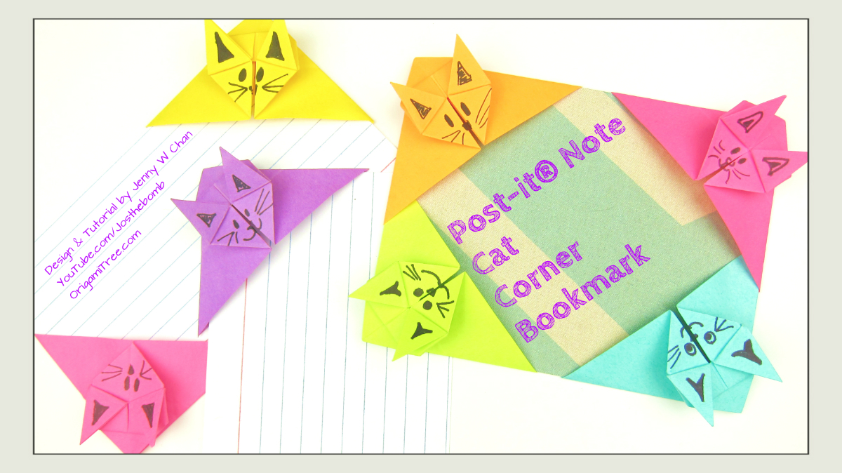 Post-It® Note Crafts - Origami Cat Corner Bookmark