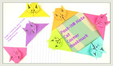 Cat Bookmark origami origamitree.com