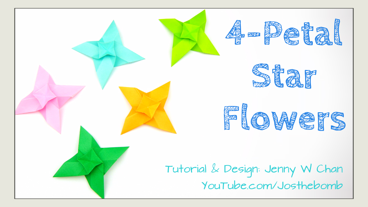 Origami 4 petal star flowers origamitree mightylinksfo Images