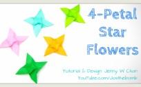 Four Petal Star Flower origami origamitree.com
