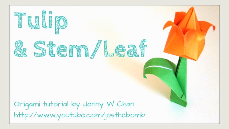 Origami Tulip, Stem & Leaf