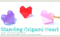 origami standing heart origami origamitree.com