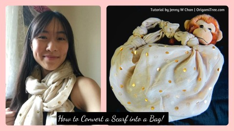 Convert Scarf to Bag Thumbnail Origami OrigamiTree.com