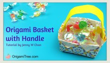 Origami Basket with Handle 2 - Origami OrigamiTree.com