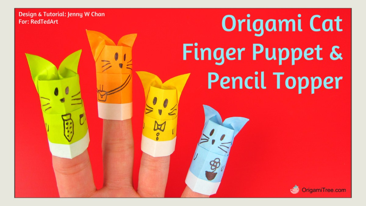 Origami Cat Pencil Topper - Origami Finger Puppet