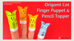 Origami Cat Finger Puppet and Pencil Topper OrigamiTree.com