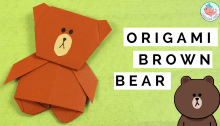 Origami Bear - Line Bear - Brown