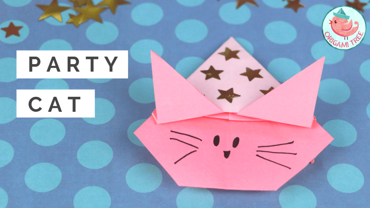 Origami Cat (with a party hat!)