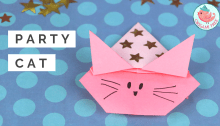 Origami Cat with a Party Hat, Jenny W. Chan, Origami Tree