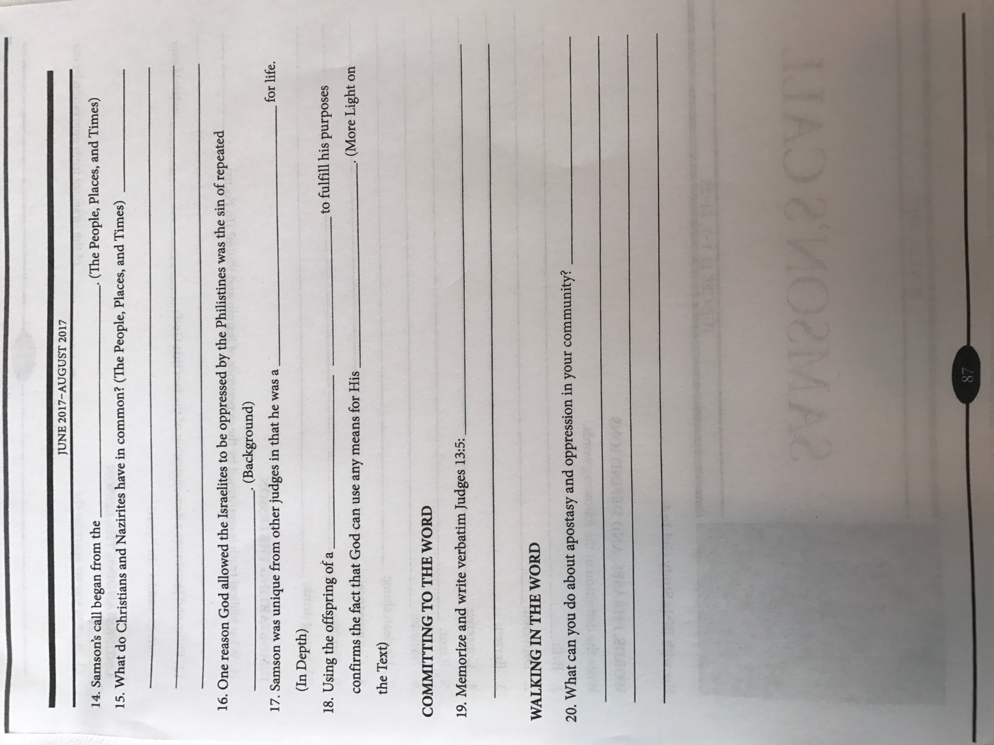 Samson S Call Worksheet 2