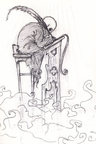 A small, skull-headed, robed figure hunched, high up, over an exceedingly tall ornate wooden writing desk