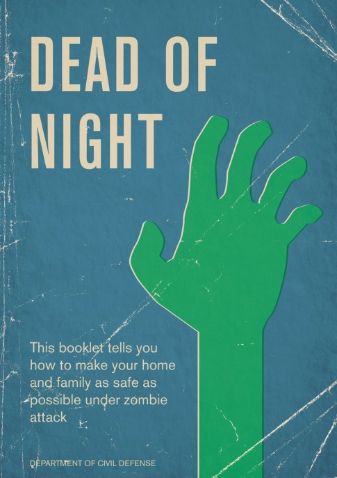 Book cover in the style of a weathered civil defense manual, depicting a green zombie hand on a blue background