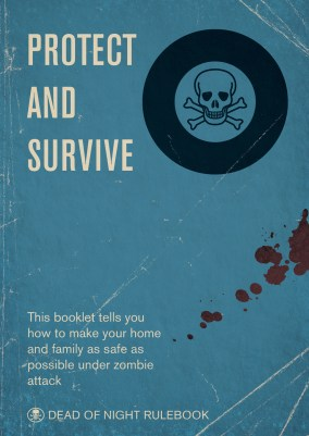 Book cover in the style of a weathered civil defense manual, depicting a black skull on a bloodstained blue background