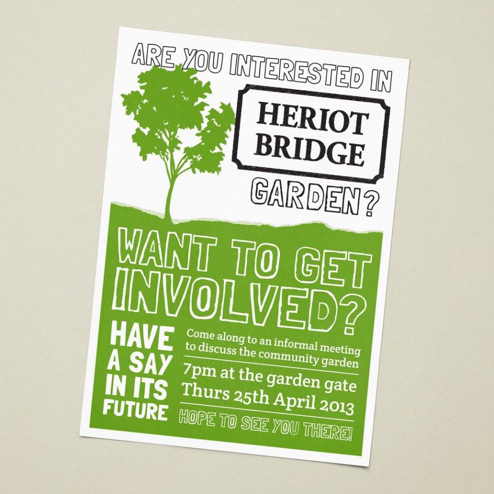 A5 flyer for a community garden meeting