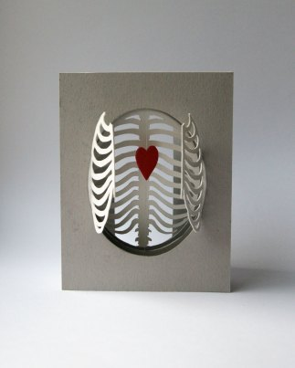 'Cardiothoracic' tunnel book/card: ribs opened